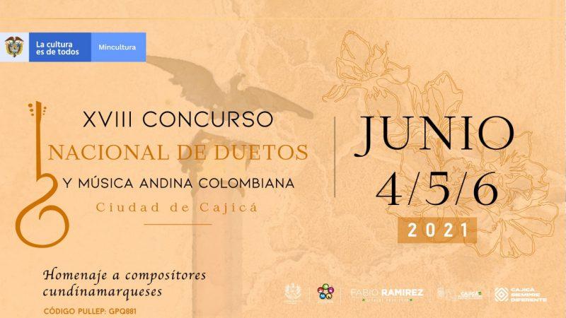 Concurso Nacional de Duetos y Música Andina Colombiana «Ciudad de Cajicá» será del 4 al 6 de junio de 2021